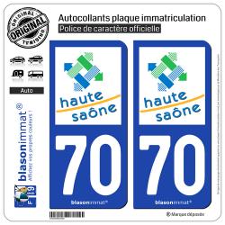 2 Autocollants plaque immatriculation Auto 70 Haute-Saône - Département