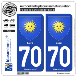 2 Autocollants plaque immatriculation Auto 70 Lure - Armoiries