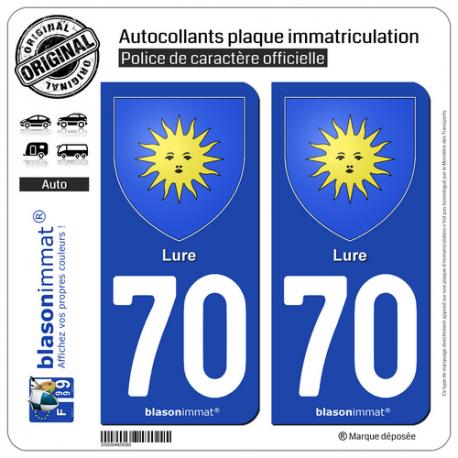 2 Autocollants plaque immatriculation Auto 70 Lure - Armoiries