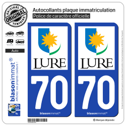 2 Autocollants plaque immatriculation Auto 70 Lure - Ville