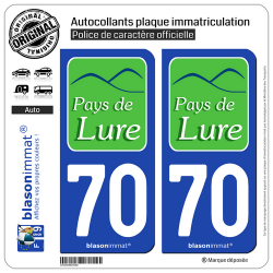 2 Autocollants plaque immatriculation Auto 70 Lure - Agglo
