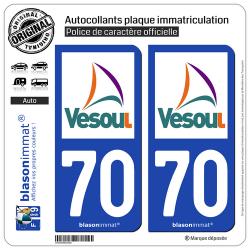 2 Autocollants plaque immatriculation Auto 70 Vesoul - Agglo