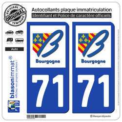 2 Autocollants plaque immatriculation Auto 71 Bourgogne - LogoType