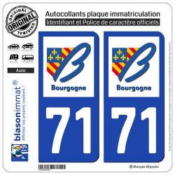 2 Autocollants plaque immatriculation Auto 71 Bourgogne - LogoType
