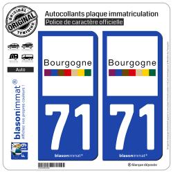 2 Autocollants plaque immatriculation Auto 71 Bourgogne - Tourisme