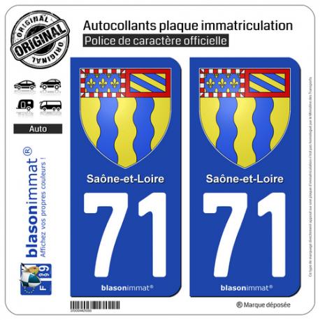 2 Autocollants plaque immatriculation Auto 71 Saône-et-Loire - Armoiries