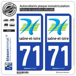 2 Autocollants plaque immatriculation Auto 71 Saône-et-Loire - Département