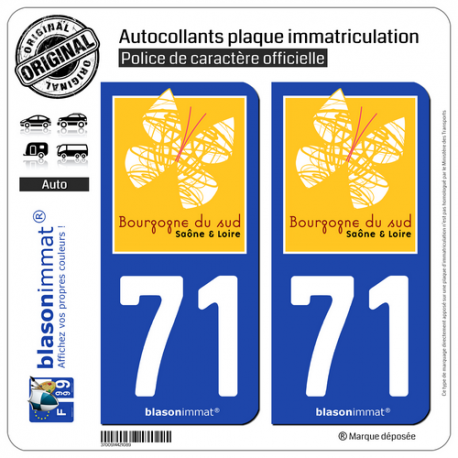 2 Autocollants plaque immatriculation Auto 71 Saône-et-Loire - Bourgogne du Sud