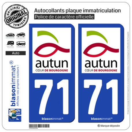 2 Autocollants plaque immatriculation Auto 71 Autun - Ville