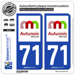 2 Autocollants plaque immatriculation Auto 71 Autun - Agglo