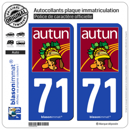 2 Autocollants plaque immatriculation Auto 71 Autun - Tourisme