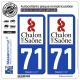 2 Autocollants plaque immatriculation Auto 71 Chalon-sur-Saône - Ville
