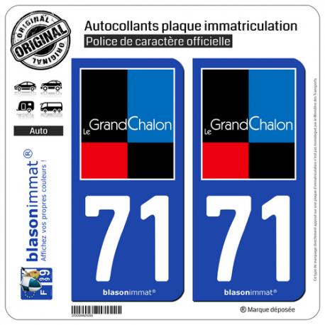 2 Autocollants plaque immatriculation Auto 71 Chalon-sur-Saône - Agglo