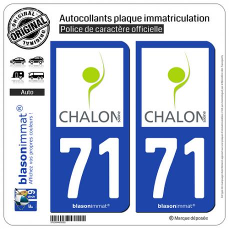 2 Autocollants plaque immatriculation Auto 71 Chalon-sur-Saône - Pays