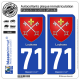 2 Autocollants plaque immatriculation Auto 71 Louhans - Armoiries