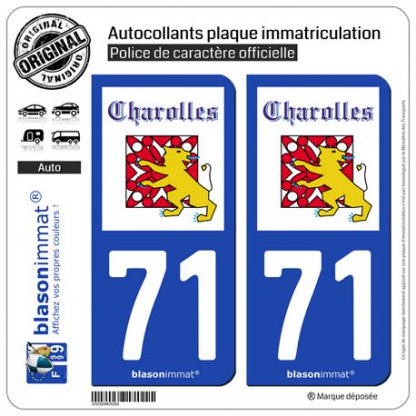 2 Autocollants plaque immatriculation Auto 71 Charolles - Ville