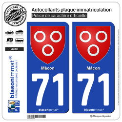 2 Autocollants plaque immatriculation Auto 71 Mâcon - Armoiries