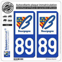 2 Autocollants plaque immatriculation Auto 89 Bourgogne - LogoType