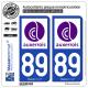 2 Autocollants plaque immatriculation Auto 89 Auxerre - Agglo