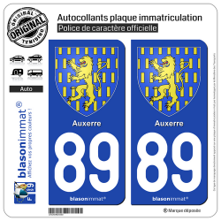 2 Autocollants plaque immatriculation Auto 89 Auxerre - Armoiries