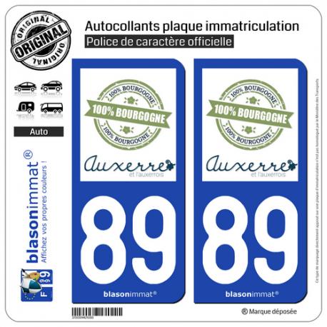2 Autocollants plaque immatriculation Auto 89 Auxerre - Tourisme