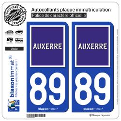 2 Autocollants plaque immatriculation Auto 89 Auxerre - Ville