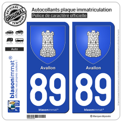 2 Autocollants plaque immatriculation Auto 89 Avallon - Armoiries