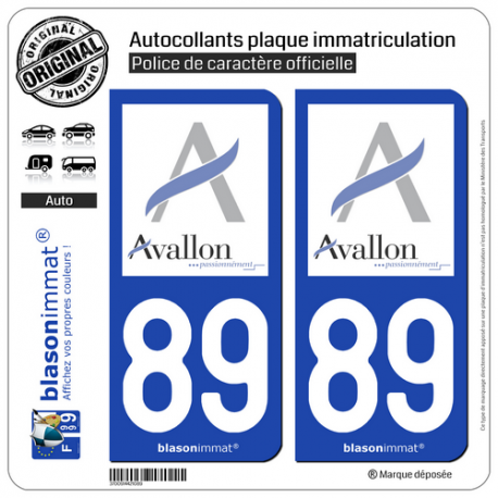 2 Autocollants plaque immatriculation Auto 89 Avallon - Ville