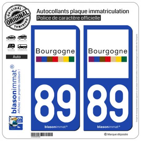 2 Autocollants plaque immatriculation Auto 89 Bourgogne - Tourisme