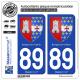 2 Autocollants plaque immatriculation Auto 89 Savigny-sur-Clairis - Armoiries