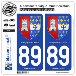 2 Autocollants plaque immatriculation Auto 89 Savigny-sur-Clairis - Armoiries