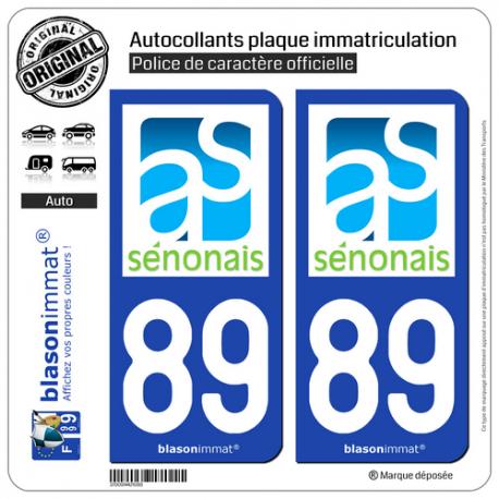 2 Autocollants plaque immatriculation Auto 89 Sens - Agglo