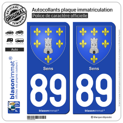2 Autocollants plaque immatriculation Auto 89 Sens - Armoiries