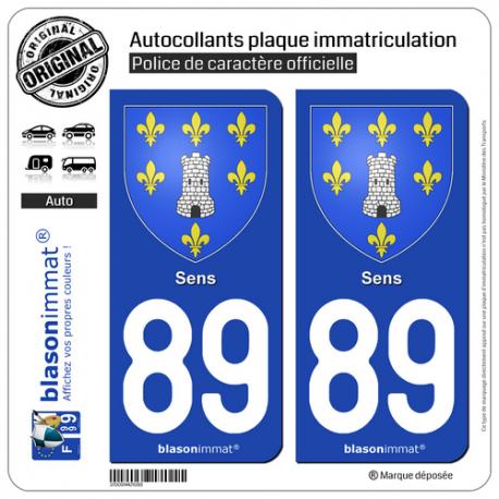 2 Autocollants plaque immatriculation Auto 89 Sens - Armoiries