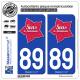 2 Autocollants plaque immatriculation Auto 89 Sens - Tourisme