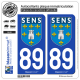 2 Autocollants plaque immatriculation Auto 89 Sens - Ville