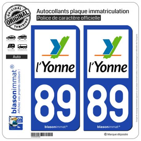 2 Autocollants plaque immatriculation Auto 89 Yonne - Département