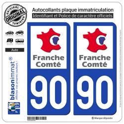 2 Autocollants plaque immatriculation Auto 90 Franche-Comté - LogoType