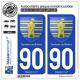 2 Autocollants plaque immatriculation Auto 90 Territoire de Belfort - Armoiries