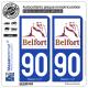 2 Autocollants plaque immatriculation Auto 90 Territoire de Belfort - Tourisme