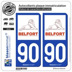 2 Autocollants plaque immatriculation Auto 90 Belfort - Ville