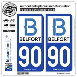 2 Autocollants plaque immatriculation Auto 90 Belfort - Agglo