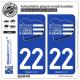 2 Autocollants plaque immatriculation Auto 22 Côtes-d'Armor - Tourisme