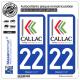 2 Autocollants plaque immatriculation Auto 22 Callac - Ville
