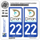 2 Autocollants plaque immatriculation Auto 22 Dinan - Tourisme