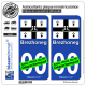 2 Autocollants plaque immatriculation Auto Brezhoneg - Drapeau