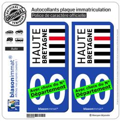 2 Autocollants plaque immatriculation Auto Haute-Bretagne