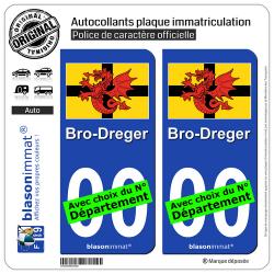 2 Autocollants plaque immatriculation Auto Trégor - Drapeau