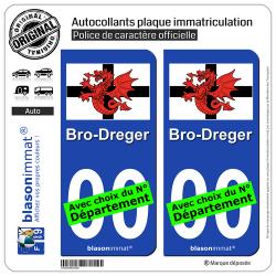 2 Autocollants plaque immatriculation Auto Trégor - Drapeau Blanc