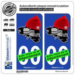 2 Autocollants plaque immatriculation Auto Breizh - Bonnets Rouges